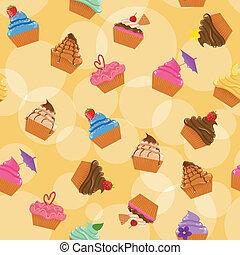 seamless, 컵케이크, 배경