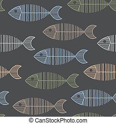 seamless, 타일, 와, 50년대, retro, fish, 뼈, 패턴