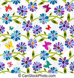 seamless, 파랑, 꽃 본