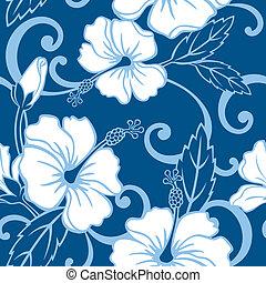 seamless, 파랑, 하와이, 패턴