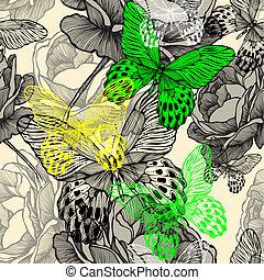 seamless, 패턴, 와, 꽃 같은, 야생의, 장미, 와..., 다채로운, 나비, hand-drawing., 벡터, illustration.