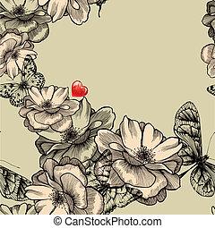 seamless, 패턴, 와, 꽃 같은, 장미, 나비, 와..., 빨강, hearts., 벡터, illustration.