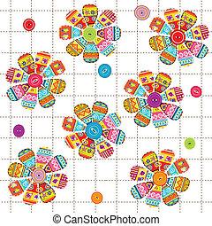 seamless, 패턴, 와, 꽃, 와, 소수 민족의 사람, 주제