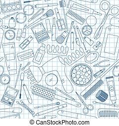 seamless, 패턴, 와, 도구, 치고는, 구성, 통하고 있는, notebook.