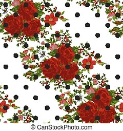 seamless, 패턴, 와, 떼어내다, 빨강, flowers., 벡터, illustration.