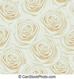 seamless, 패턴, 와, 베이지색, 장미