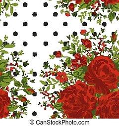 seamless, 패턴, 와, 빨간 장미, 통하고 있는, 디자인, 배경, 벡터, 삽화