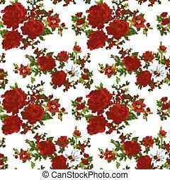seamless, 패턴, 와, 빨강, flowers., 벡터, illustration.