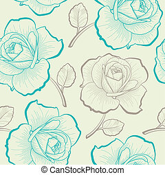 seamless, 패턴, 와, 손, 그림, 장미