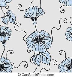 seamless, 패턴, 와, 손, 끌기, 꽃, 꽃의, 삽화