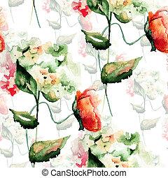 seamless, 패턴, 와, 수국, 와..., 양귀비, 꽃