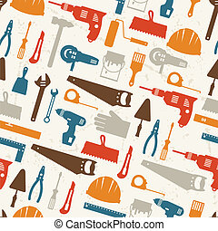 seamless, 패턴, 와, 수선, 일, 도구, icons.