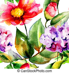 seamless, 패턴, 와, 아름다운, 꽃