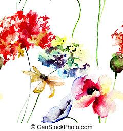 seamless, 패턴, 와, 양귀비, 와..., 수국, 꽃