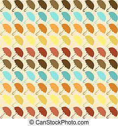 seamless, 패턴, 와, 우산, 에서, retro, style.