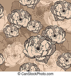 seamless, 패턴, 와, 장식적이다, roses., 벡터, illustration.