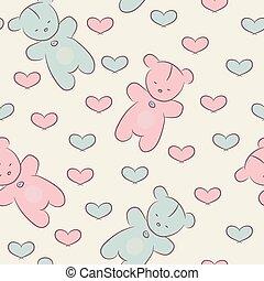 seamless, 패턴, 와, 테디 베어, 와..., hearts.