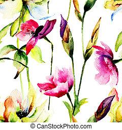 seamless, 패턴, 와, stylized, 강포한 꽃