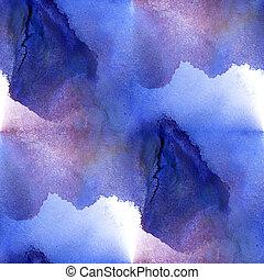 seamless, 패턴, 파랑, 자주색 배경, ., 떼어내다, handmade, 수채화 물감, 예술, 손,...