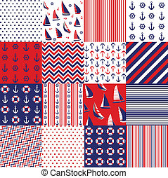 seamless, 패턴, 항해의, 성분