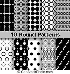 seamless, 10, rond, motifs