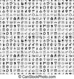 seamless, 100, doodle, negócio, padrão