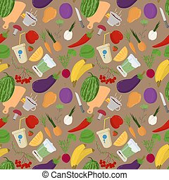 seamless 2 pattern illustration of flat style vegetables and fruits berries for healthy eating vegetarian food