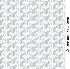 Seamless 3d geometric pattern. White background.