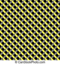 Seamless 3d grid pattern in yellow, grey and black.