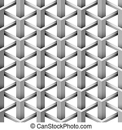 Seamless 3D illusion intersecting triangle vector pattern.