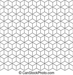 Seamless 3d wireframe cube pattern