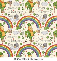 seamless 5 pattern illustration for design on the Irish theme of St Patricks day in the style of Doodle