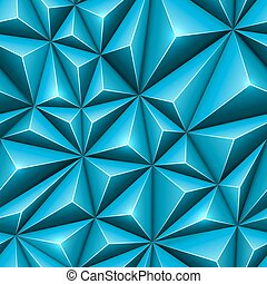 Seamless abstract 3D blue polygonal technology vector background.