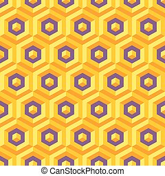 Seamless abstract 3d texture with hexagonal elements. Vector ill
