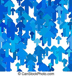 Seamless abstract arrow background pattern - vector design from blue rounded upward arrows with shadow effect