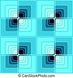 Seamless abstract background with blue checker patterns in minimal design, 3d optical art illusion