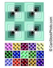 Seamless abstract background with blue checker patterns in minimal design, mega set of color variants, 3d optical art illusion