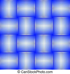 Seamless abstract background with blue checker patterns in metallic design, 3d optical art illusion