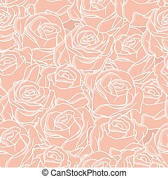 Seamless abstract background with roses. Vector pattern