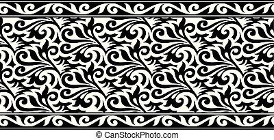 Seamless abstract black and white floral border