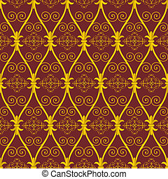 seamless abstract golden orient pattern on brown background