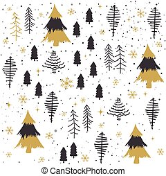 Seamless abstract Christmas trees pattern