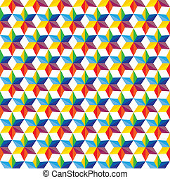 seamless abstract colorful background of star shapes- vector graphic. This illustration consists of repetitive star shapes in various hues & colors like yellow, orange, red, green, pink, blue,