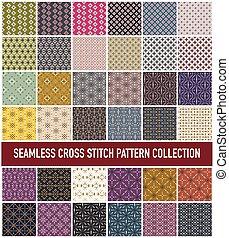 Seamless Abstract Cross Stitch Embroidery Pattern Set