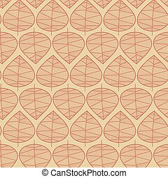 Seamless abstract fall leaves vector background. Subtle floral stylish pattern. Vector repeating texture stylized leaves on beige. Seasonal fall design for digital paper, scrao booking, fabric, card