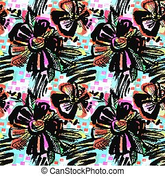 Seamless abstract floral ink hand drawn pattern