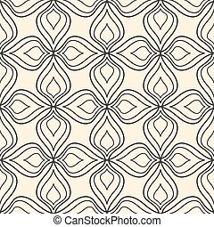Seamless abstract floral pattern on beige background