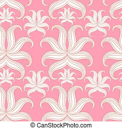 seamless, abstract, floral, pattern., vector, illustration., roze, desi