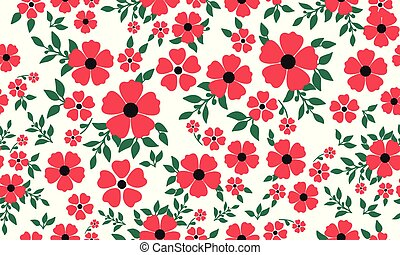 Seamless abstract flower garden pattern background drawing.