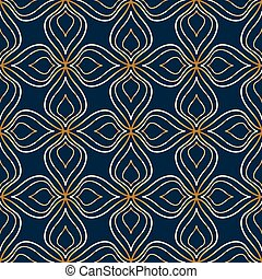 Seamless abstract golden floral pattern on dark blue background